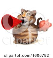 Poster, Art Print Of 3d Tabby Kitty Cat Holding A Piggy Bank On A White Background