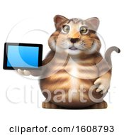 September 18th, 2018: Clipart Of A 3d Tabby Kitty Cat Holding A Tablet On A White Background Royalty Free Illustration by Julos