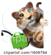 September 18th, 2018: Clipart Of A 3d Tabby Kitty Cat Holding A Gas Can On A White Background Royalty Free Illustration by Julos