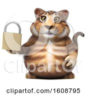 September 18th, 2018: Clipart Of A 3d Tabby Kitty Cat Holding A Padlock On A White Background Royalty Free Illustration by Julos
