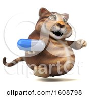 September 18th, 2018: Clipart Of A 3d Tabby Kitty Cat Holding A Pill On A White Background Royalty Free Illustration by Julos