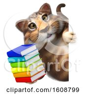 September 18th, 2018: Clipart Of A 3d Tabby Kitty Cat Holding Books On A White Background Royalty Free Illustration by Julos