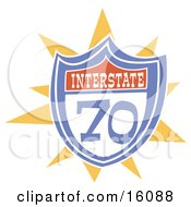 Interstate 70 Road Sign Clipart Illustration