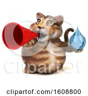 September 18th, 2018: Clipart Of A 3d Tabby Kitty Cat Holding A Water Drop On A White Background Royalty Free Illustration by Julos