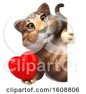 Poster, Art Print Of 3d Tabby Kitty Cat Holding A Heart On A White Background