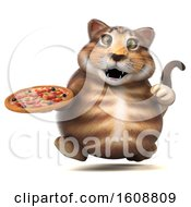 September 18th, 2018: Clipart Of A 3d Tabby Kitty Cat Holding A Pizza On A White Background Royalty Free Illustration by Julos