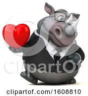 Clipart Of A 3d Business Rhinoceros Holding A Heart On A White Background Royalty Free Illustration by Julos