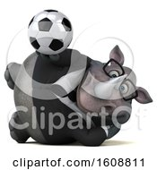 3d Business Rhinoceros Holding A Soccer Ball On A White Background