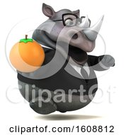 Clipart Of A 3d Business Rhinoceros Holding An Orange On A White Background Royalty Free Illustration by Julos