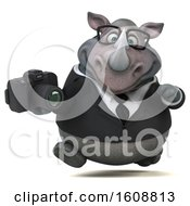 Clipart Of A 3d Business Rhinoceros Holding A Camera On A White Background Royalty Free Illustration by Julos