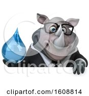Clipart Of A 3d Business Rhinoceros Holding A Water Drop On A White Background Royalty Free Illustration by Julos