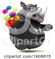 3d Business Rhinoceros Holding Messages On A White Background