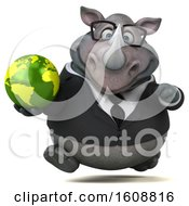 Clipart Of A 3d Business Rhinoceros Holding A Globe On A White Background Royalty Free Illustration by Julos