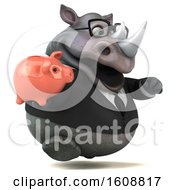 Clipart Of A 3d Business Rhinoceros Holding A Piggy Bank On A White Background Royalty Free Illustration by Julos