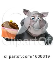 Clipart Of A 3d Rhinoceros Holding A Cupcake On A White Background Royalty Free Illustration by Julos
