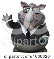 Clipart Of A 3d Business Rhinoceros Waving On A White Background Royalty Free Illustration by Julos