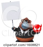 3d Business Orangutan Monkey Holding A Devil On A White Background