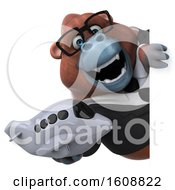 Poster, Art Print Of 3d Business Orangutan Monkey Holding A Plane On A White Background