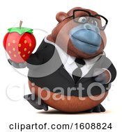 Clipart Of A 3d Business Orangutan Monkey Holding A Strawberry On A White Background Royalty Free Illustration by Julos