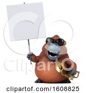 Clipart Of A 3d Orangutan Monkey Holding A Trumpet On A White Background Royalty Free Illustration by Julos