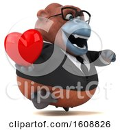 Poster, Art Print Of 3d Business Orangutan Monkey Holding A Heart On A White Background