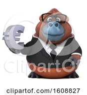 Clipart Of A 3d Business Orangutan Monkey Holding A Euro On A White Background Royalty Free Illustration by Julos