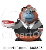 3d Business Orangutan Monkey Holding A Steak On A White Background