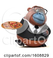 Clipart Of A 3d Business Orangutan Monkey Holding A Pizza On A White Background Royalty Free Illustration by Julos