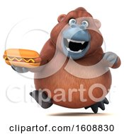 Clipart Of A 3d Orangutan Monkey Holding A Hot Dog On A White Background Royalty Free Illustration by Julos