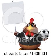 3d Brown Business Chicken Holding A Soccer Ball On A White Background