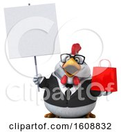 3d White Business Chicken Holding A Shopping Bag On A White Background