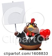 Poster, Art Print Of 3d Brown Business Chicken Holding A Heart On A White Background