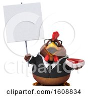 3d Brown Business Chicken Holding A Steak On A White Background