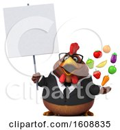 Poster, Art Print Of 3d Brown Business Chicken Holding Produce On A White Background