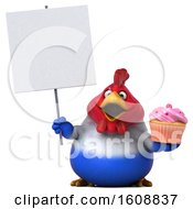 Poster, Art Print Of 3d French Chicken Holding A Cupcake On A White Background
