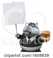 Poster, Art Print Of 3d Chubby White Business Horse Holding A Burger On A White Background