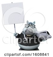 Poster, Art Print Of 3d Chubby White Business Horse Holding A Plane On A White Background