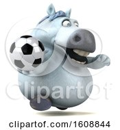 3d Chubby White Horse Holding A Soccer Ball On A White Background