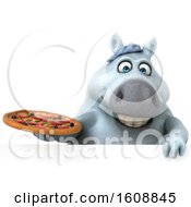 Poster, Art Print Of 3d Chubby White Horse Holding A Pizza On A White Background