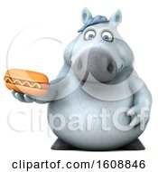 Poster, Art Print Of 3d Chubby White Horse Holding A Hot Dog On A White Background