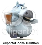 Poster, Art Print Of 3d Chubby White Horse Holding A Beer On A White Background
