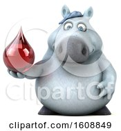 Poster, Art Print Of 3d Chubby White Horse Holding A Blood Drop On A White Background