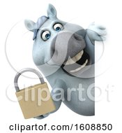 Poster, Art Print Of 3d Chubby White Horse Holding A Padlock On A White Background