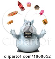 Clipart Of A 3d Chubby White Horse With Junk Food On A White Background Royalty Free Illustration