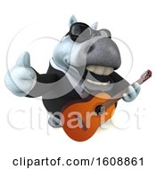 3d Chubby White Business Horse Holding A Guitar On A White Background