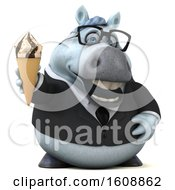 Poster, Art Print Of 3d Chubby White Business Horse Holding A Waffle Cone On A White Background