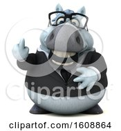 Poster, Art Print Of 3d Chubby White Business Horse Holding Up A Middle Finger On A White Background