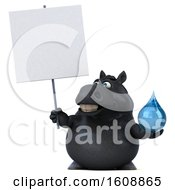 Clipart Of A 3d Chubby Black Horse Holding A Water Drop On A White Background Royalty Free Illustration