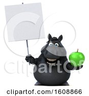 Clipart Of A 3d Chubby Black Horse Holding An Apple On A White Background Royalty Free Illustration