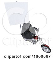 Poster, Art Print Of 3d Chubby Black Horse Riding A Motorcycle On A White Background